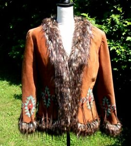 Fabulous Western Patricia Wolf Hand Painted Suede Jacket Faux Fur Small NWOT