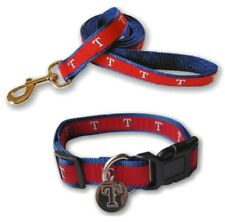 Texas Rangers Nylon Pet Collar and Leash - Large fits Neck 16 In - 28 In - MLB