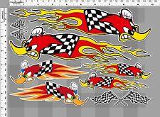 *1 SET. HONDA RACING WOODY FLY RACING CHECKER FLAGS VINYL DECALS STICKER DIE-CUT