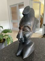 Antique African Tribal Head Female Woman Carved Bust Statue Figure 1920s 1930s