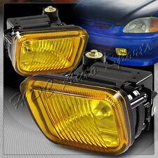 For 1996-1998 Honda Civic Yellow Glass Lens Chrome Reflector Fog Driving Lights