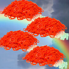 2400 Rubber All Orange Color Bands for Authentic Loom Refill +100 clips +Free Sh