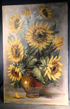 Mid-Century Modern Oil Painting BIG BOLD SUNFLOWERS R Heer Abstract TEXTURE
