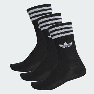 Adidas Originals 3 Pack Crew Logo Socks New In Black UK size 2-10