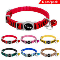 6pcs Nylon Cat Breakaway Collars with Bell Safety Quick Release Kitten Necklace