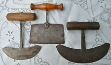 Antique Herb Choppers, Lot of 3, Primitive Forged Iron, Farmhouse Find
