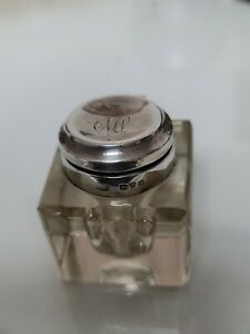 Antique Square Glass Inkwell With Silver Hallmarked Top Chester 1915.