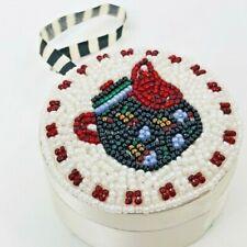 Mary Engelbreit Christmas Ornament Trinket Box Beaded Tea Pot