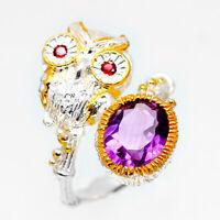 Animal Fashion Women Natural Amethyst Gemstone 925 Sterling Silver Ring / RVS69