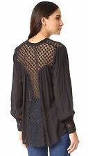 7365 New Free People The Best Crochet Lace Black Buttondown Tunic Top Medium M 8