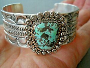 ROBERT YELLOWHORSE Navajo Indian Mountain? Turquoise Sterling Silver Bracelet