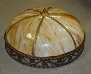 """Antique Large Scale Slag Glass Chandelier Leaf Pattern 29.5"""" Diameter"""