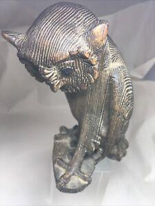 """7"""" Vintage Carved Cryptomeria Wood Owl Statue Japan"""