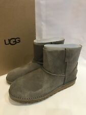 New Nib Ugg Classic Mini Unlined Perf Boots Ladies US 10 Fits 9 Mole Grey