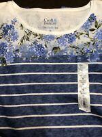 Croft & Barrow  3X NWT short sleeve blue, white stripe with floral shirt NWT 3x
