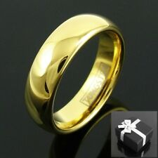 Tungsten Carbide Men's 14K Gold Plated Band Ring 6mm Size 8-14 TW