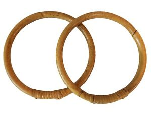 "Pair of 5"" Round Natural Rattan Wood Purse Handles Craft Macrame Fabric Crochet"
