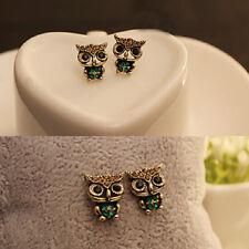 Fashion Style Owl Bird Rhinestone Cute Vintage Ear Stud Earrings Jewelry Gift