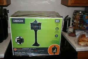 GIBRALTAR Mailbox Pedestal Post Combo Locking Security Large Capacity Black