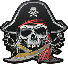 LARGE SIZE PIRATE SKULL Captain Ghost Cross Swords Red Turban Sew Iron on Patch