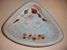 mid century modernist italian harlequin pottery tray / plate ashtray signed