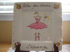 """Original Oil Painting Square Plate Hand Signed By Timree """"Follow Your Dreams"""""""
