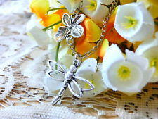 Dragonfly silver necklace pendant,antique flower connector chain necklace