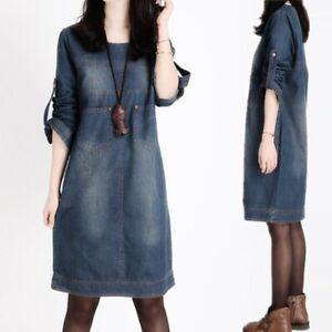 Womens Vintage Style Denim Dress Round Neck Long Sleeve Mid-length Loose Dress D