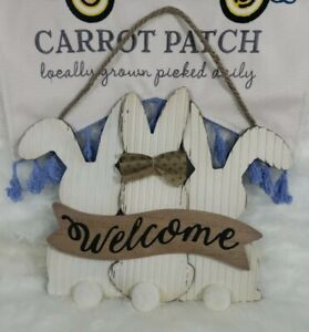 """Easter Bunny Welcome Sign Wall Decor Wooden Burlap Metal 11"""" X13"""" Spring New"""
