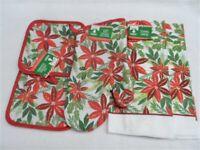 5 Piece Christmas Poinsettia's Kitchen Decor Potholders, Oven mitt, Towels set