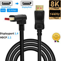 Angled Displayport 1.4 Cable 1.8M 144Hz/4K 8K/60Hz HDR 32.4G DP Male to DP Male