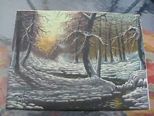 P Klaus Oil Painting of a Winter Scene with Trees and Snow - Unframed