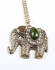 1960s Brass Elephant Necklace with Green Jasper Stone
