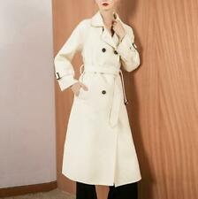Womens Long Cashmere Wool Coat Loose Double-breasted Tied Waistband Lapel Casual