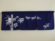 "34""W x 12.5""L Indigo Noren Curtain Tapestry 3-Panel Sushi Bar Bamboo/Made Japan"