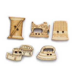 50pcs Sewing Theme Wooden buttons for Sewing Clothing Scrapbooking Crafts Decor