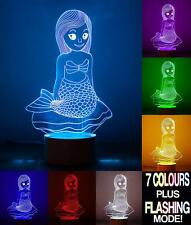 OPTICAL ILLUSION 3D MERMAID LAMP - COLOUR CHANGING NIGHT LIGHT ACRYLIC USB