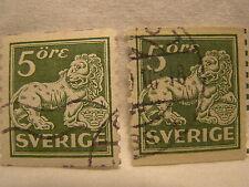 Sewden Stamp 1920 25 Scott 116 A16 Green 5 Lion Set of 2