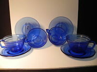 HAZEL ATLAS GLASS MODERNTONE COBALT BLUE set of 4 - 6 OZ CUPS & SAUCERS *