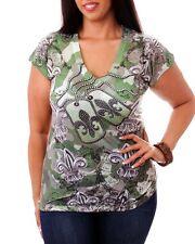 Women's Green Military Style Blouse Top with De Fleur Print, Rhinestones Size 1X