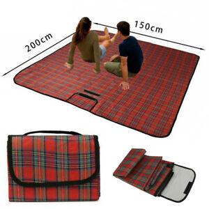 XL Extra Large Waterproof Picnic Blanket Folding Fleece Tartan Picnic Rug Comfy