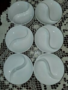 6 NWT Crate & Barrel Porcelain Yin Yang Condiment Dishes Dipping SOY Sauce Sushi