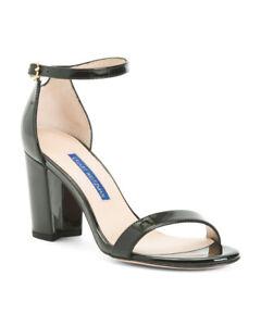 "Stuart Weitzman Nearlynude Black Patent Leather 3""Heel Sandals 8.5;NIB$395"