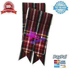 Scottish Kilt Sock Flashes Black Stewart Tartan/Black Stewart Kilt hose Flashes