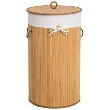 Panier à linge corbeille en bambou bac à linge pliable 57L naturel Ø 36 x 63 cm