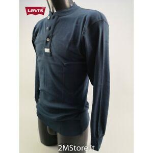 "LEVI'S T-Shirt uomo SLIM manica lunga ""GOLD MINER"" in 7 Colori cotone Made in It"