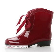 Hot Womens Sweet Girls Ankle Rain Shoes Snow Boots Shoes Ladies Warm Wellies e99