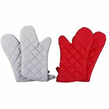 """New listing Oven Mitts 2 Pairs Of Quilted Cotton Lining - Heat Resistant And Flexible Set """""""