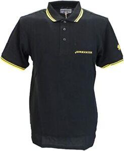 Lambretta Heritage Polo Piquet Shirt Black Yellow Twin Tipped Lion Logo Large