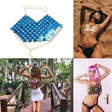 Mermaid Mirror Harness Crop Top Festival Body Chain Sequin Bralet beach Boho AU